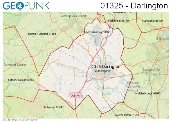 Map of the Darlington area code