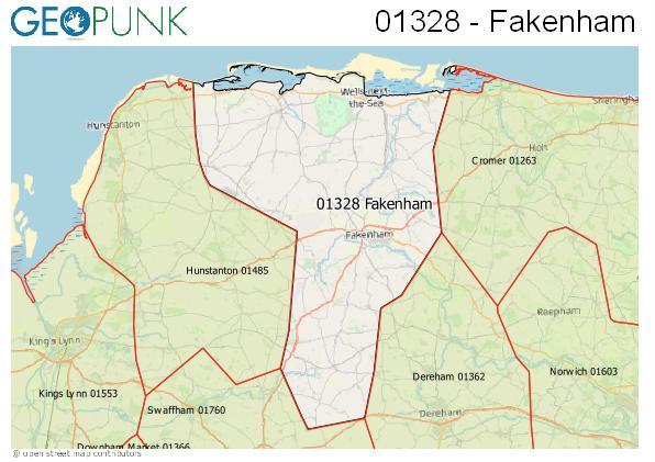 Map of the Fakenham area code