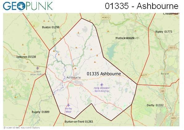 Map of the Ashbourne area code