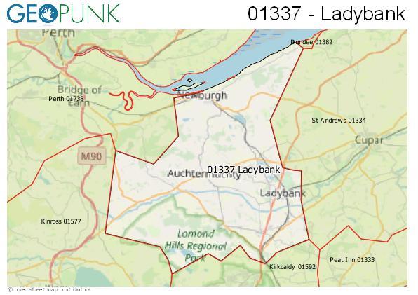 Map of the Ladybank area code