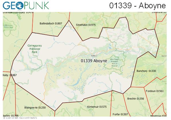 Map of the Aboyne, Ballater area code