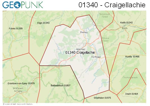 Map of the Craigellachie area code