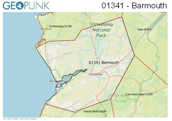 Map of the Barmouth area code