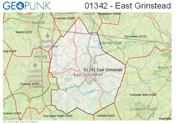 Map of the East Grinstead area code