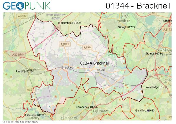 Map of the Bracknell area code