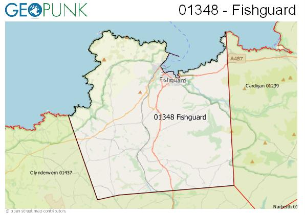 Map of the Fishguard area code