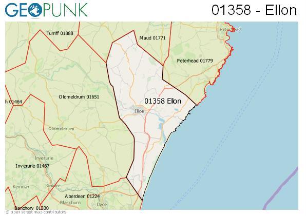 Map of the Ellon area code
