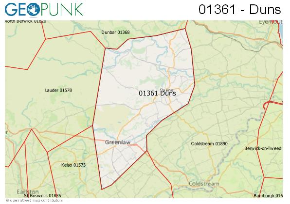 Map of the Duns area code