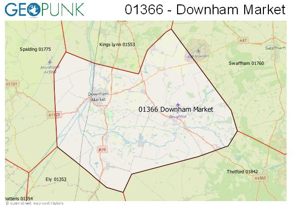 Map of the Downham Market area code