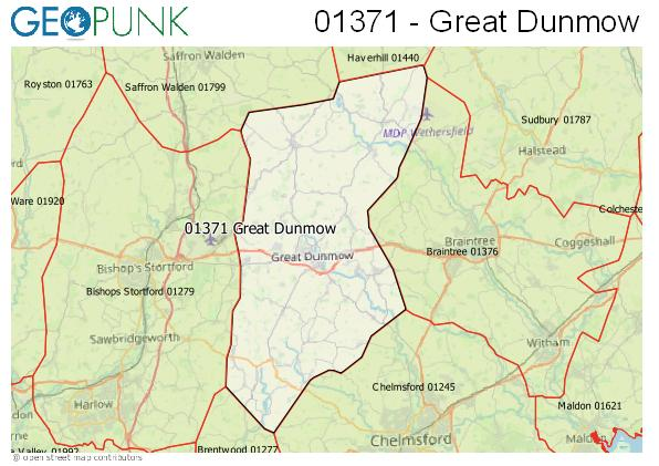Map of the Great Dunmow area code
