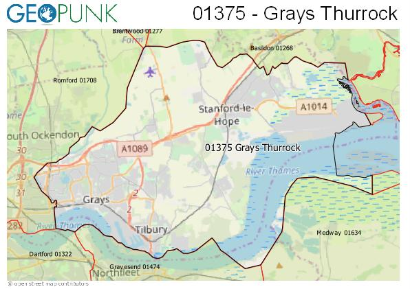 Map of the Grays Thurrock area code