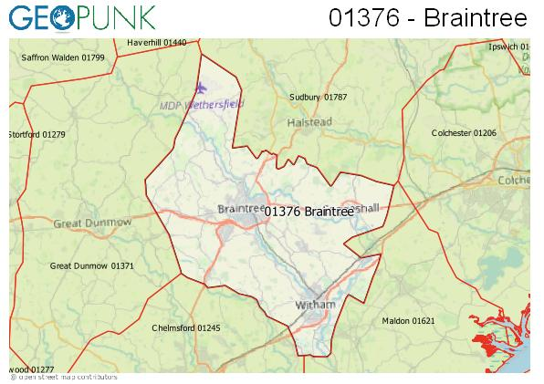 Map of the Braintree area code