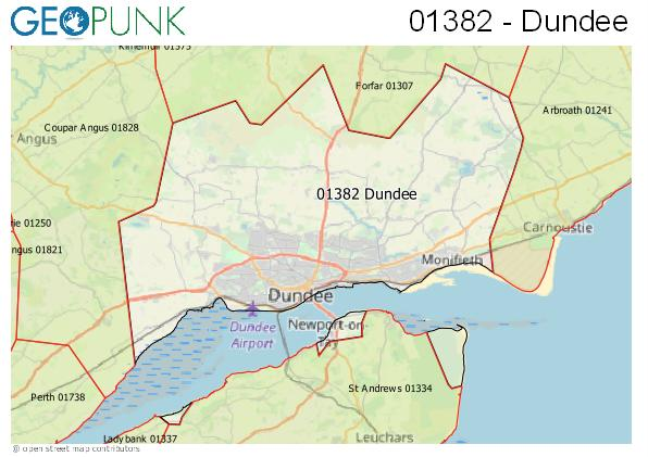 Map of the Dundee area code
