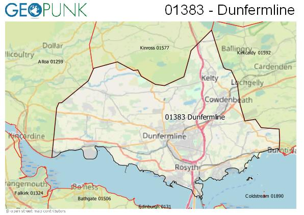 Map of the Dunfermline area code