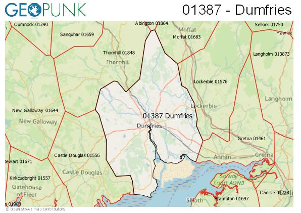 Map of the Dumfries area code