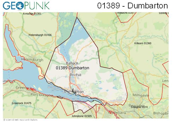 Map of the Dumbarton area code