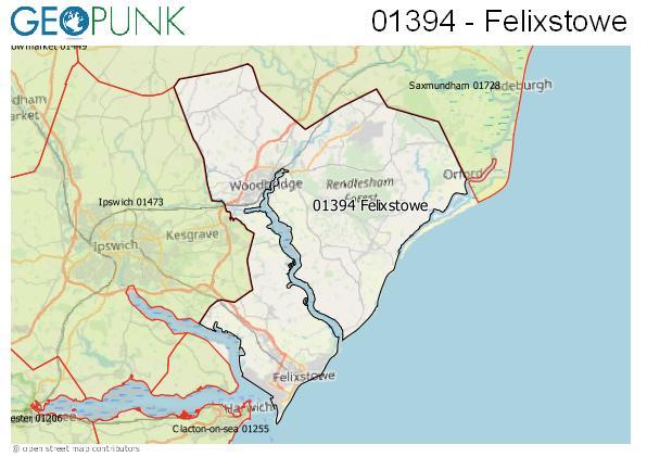 Map of the Felixstowe area code