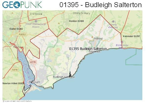 Map of the Budleigh Salterton area code