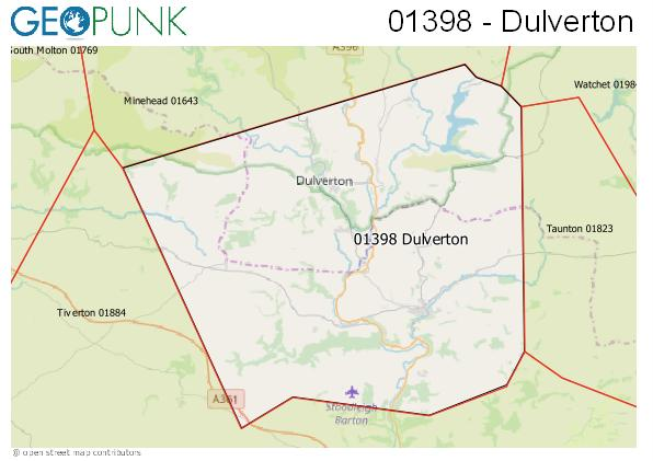 Map of the Dulverton area code