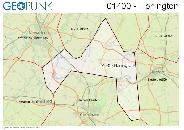 Map of the Honington area code