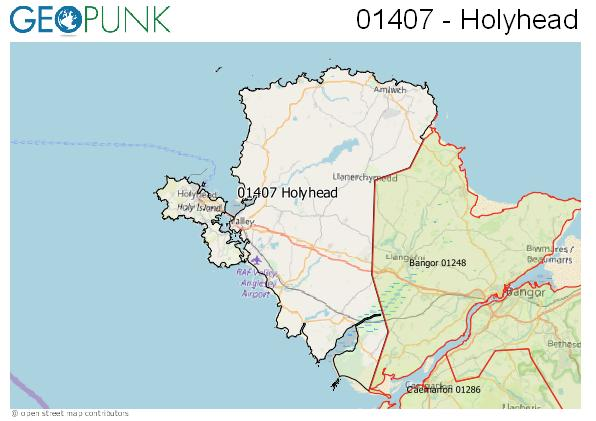 Map of the Holyhead area code