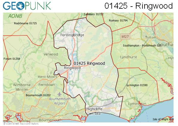 Map of the Ringwood area code