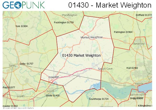 Map of the Market Weighton, North Cave area code