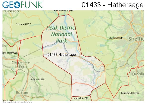 Map of the Hathersage area code