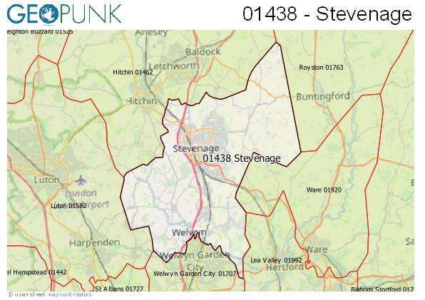 Map of the Stevenage area code