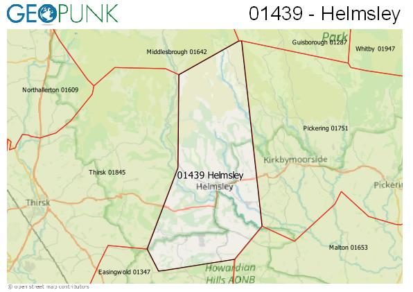 Map of the Helmsley area code