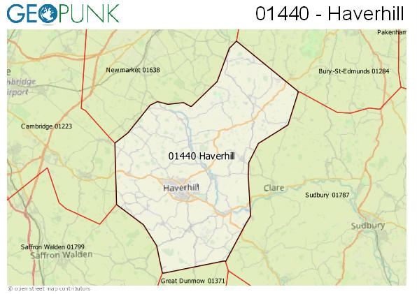 Map of the Haverhill area code