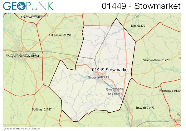 Map of the Stowmarket area code