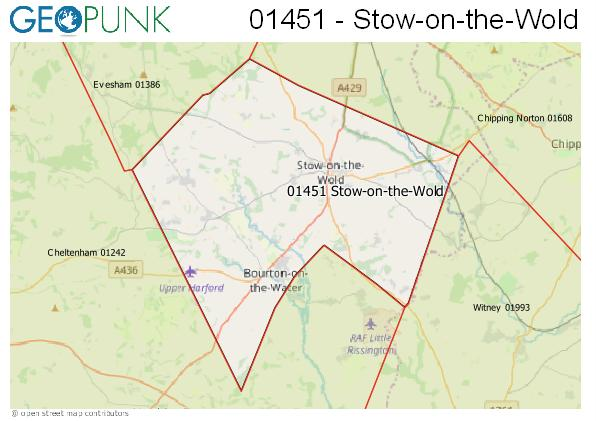 Map of the Stow-on-the-Wold area code