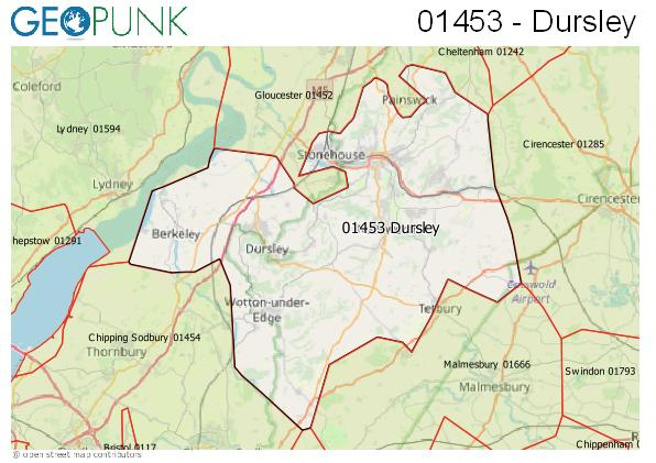 Map of the Dursley area code