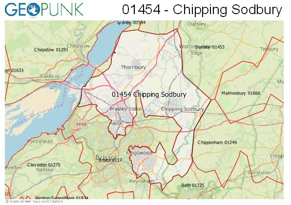 Map of the Chipping Sodbury area code