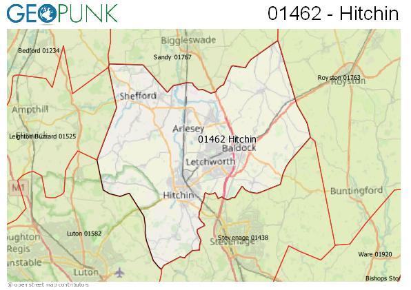 Map of the Hitchin area code