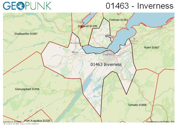Map of the Inverness area code