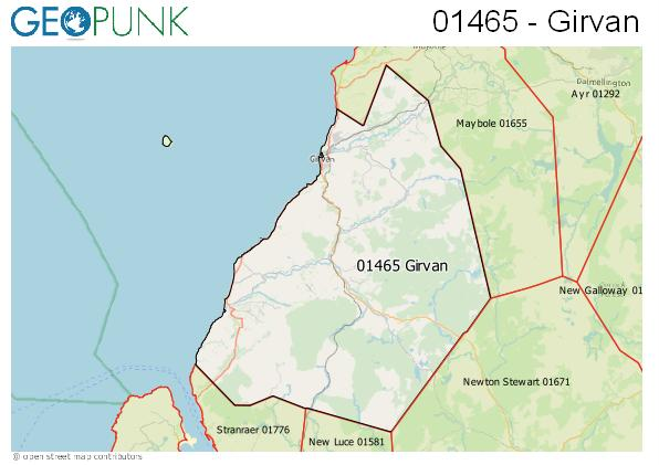 Map of the Girvan area code
