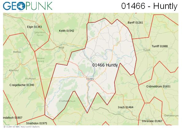 Map of the Huntly area code