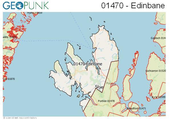 Map of the Isle of Skye - Edinbane area code