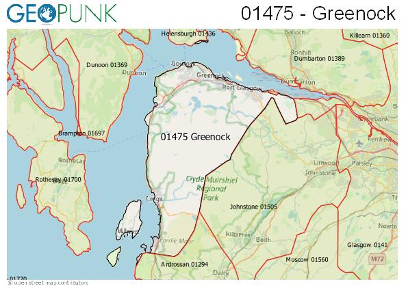 Map of the Greenock area code