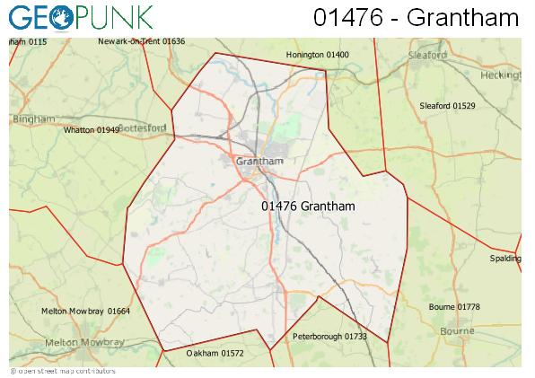 Map of the Grantham area code