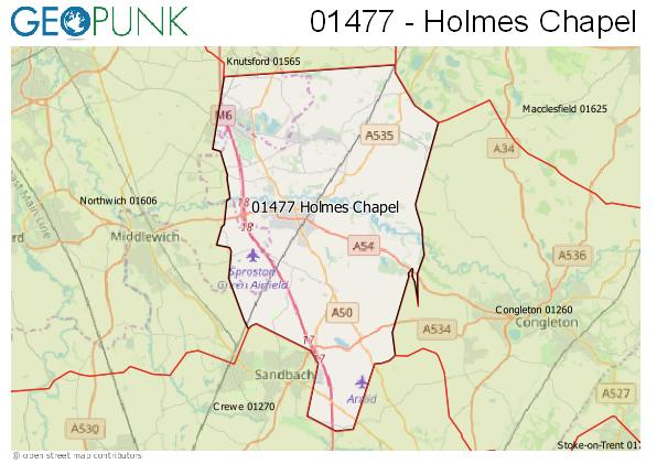 Map of the Holmes Chapel area code