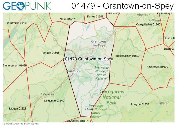 Map of the Grantown-on-Spey area code