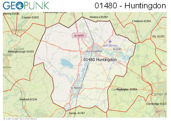 Map of the Huntingdon area code