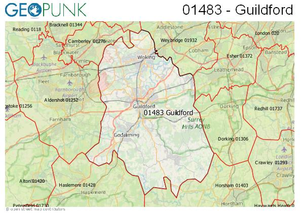 Map of the Guildford area code