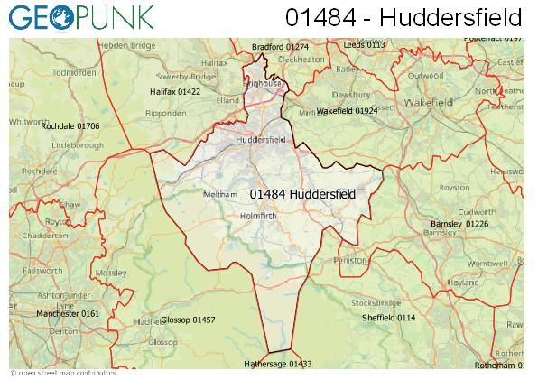 Map of the Huddersfield area code