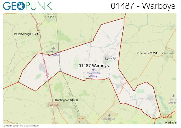 Map of the Warboys area code