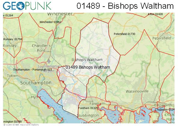 Map of the Bishops Waltham area code