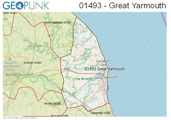 Map of the Great Yarmouth area code